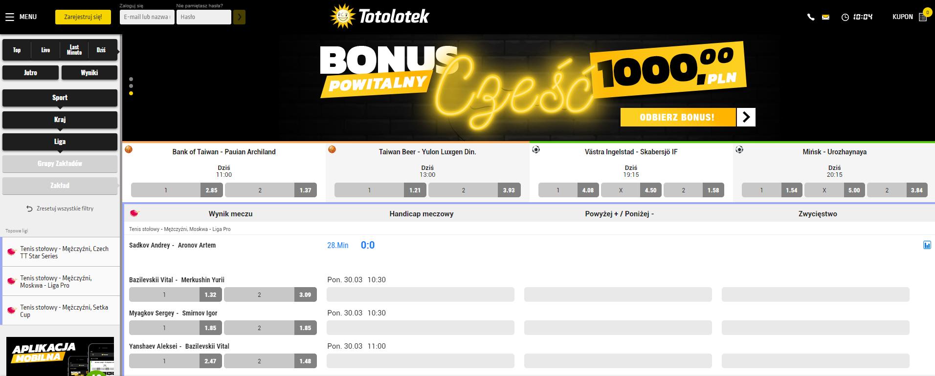 Totolotek bonusy i kod promocyjny - bonus powitalny na start